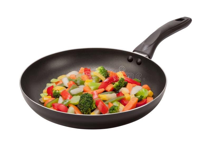 Ανακατώστε τα λαχανικά τηγανητών σε ένα τηγάνι στοκ εικόνες