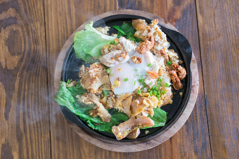 Ανακατώστε τα τηγανισμένα νουντλς με το κοτόπουλο και το αυγό στοκ φωτογραφία
