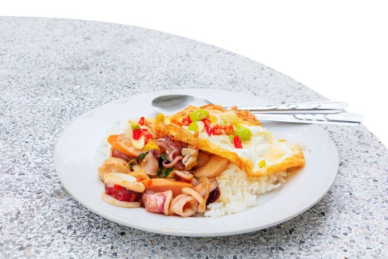 Ανακατώστε το καλαμάρι με το βασιλικό στο ρύζι με το τηγανισμένο αυγό, τα ταϊλανδικά τρόφιμα που απομονώνονται στο άσπρο υπόβαθρο στοκ εικόνα