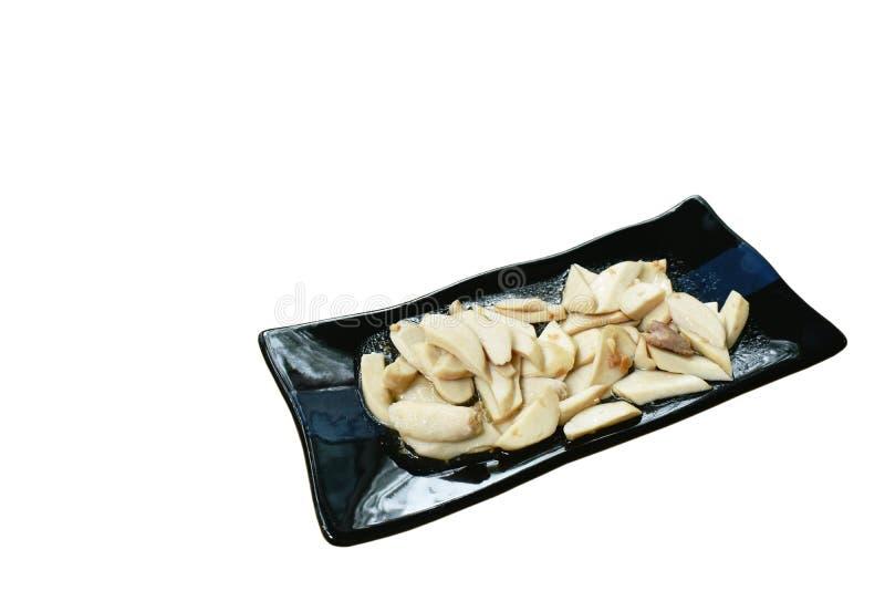 Ανακατώστε το τηγανισμένο μανιτάρι φετών με το χοιρινό κρέας στη σάλτσα στρειδιών στο πιάτο στοκ φωτογραφίες με δικαίωμα ελεύθερης χρήσης