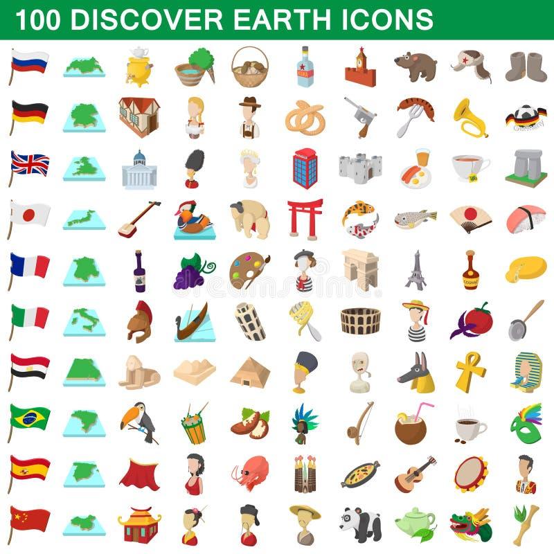 100 ανακαλύπτουν τα γήινα εικονίδια καθορισμένα, ύφος κινούμενων σχεδίων ελεύθερη απεικόνιση δικαιώματος