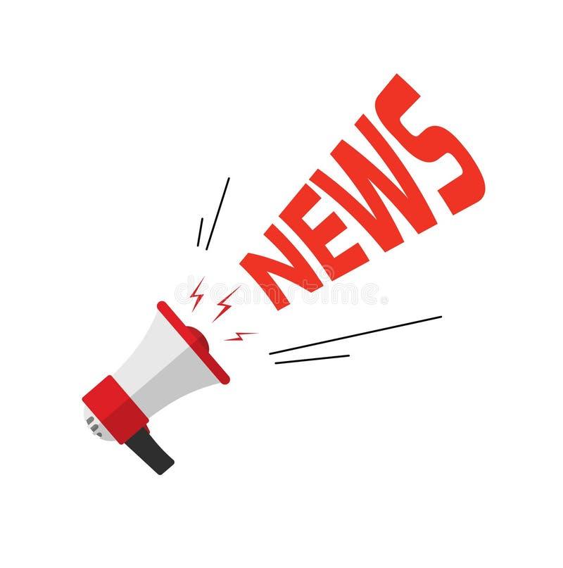 Ανακοίνωση ειδήσεων μέσω του bullhorn, επίπεδος δυνατός ομιλητής κινούμενων σχεδίων με το κείμενο ειδήσεων που απομονώνεται στο ά διανυσματική απεικόνιση