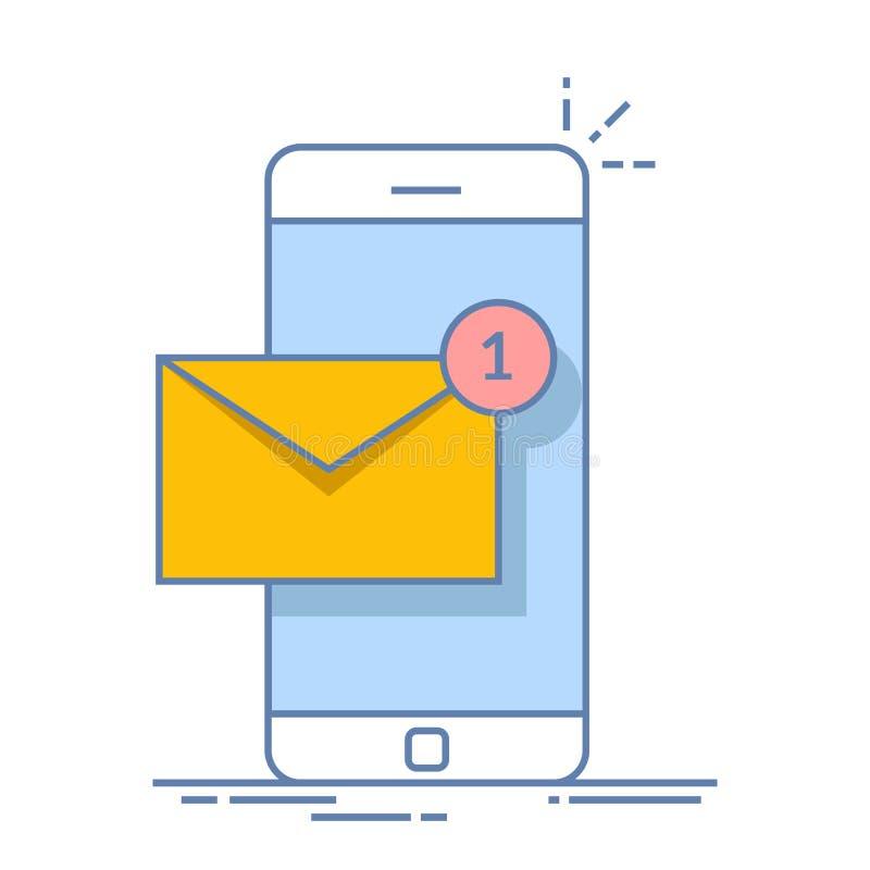 Ανακοίνωση ενός νέου ηλεκτρονικού ταχυδρομείου στο κινητό τηλέφωνο ή το smartphone σας γραφικό ταχυδρομείο απεικόνισης εικονιδίων διανυσματική απεικόνιση