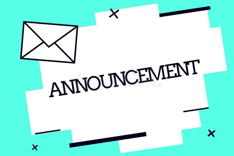 Ανακοίνωση κειμένων γραφής Έννοια που σημαίνει την επίσημη δημόσια δήλωση για ένα περιστατικό ή μια πρόθεση γεγονότος απεικόνιση αποθεμάτων