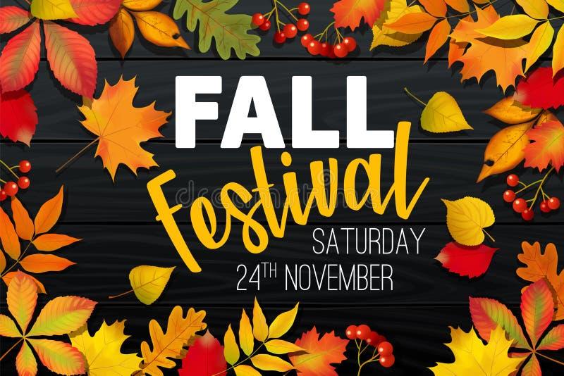Ανακοίνωση φεστιβάλ φθινοπώρου πτώσης Νοεμβρίου, έμβλημα πρόσκλησης με τα πεσμένα φύλλα απεικόνιση αποθεμάτων