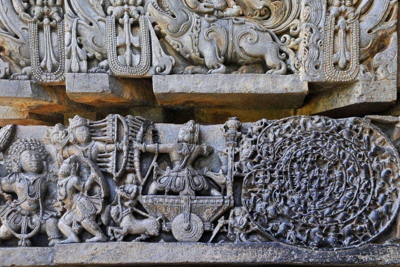Ανακούφιση επιτροπής τοίχων Halebidu στοκ εικόνες