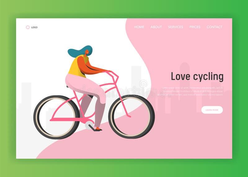 Ανακυκλώνοντας προσγειωμένος πρότυπο σελίδων Οδηγώντας ποδήλατο διανυσματική απεικόνιση