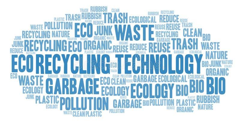 Ανακυκλώνοντας σύννεφο λέξης τεχνολογίας διανυσματική απεικόνιση