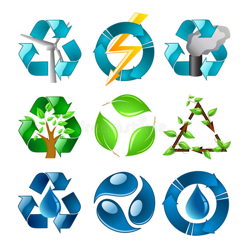 Ανακυκλώνοντας τα σύμβολα που τίθενται στοκ φωτογραφία