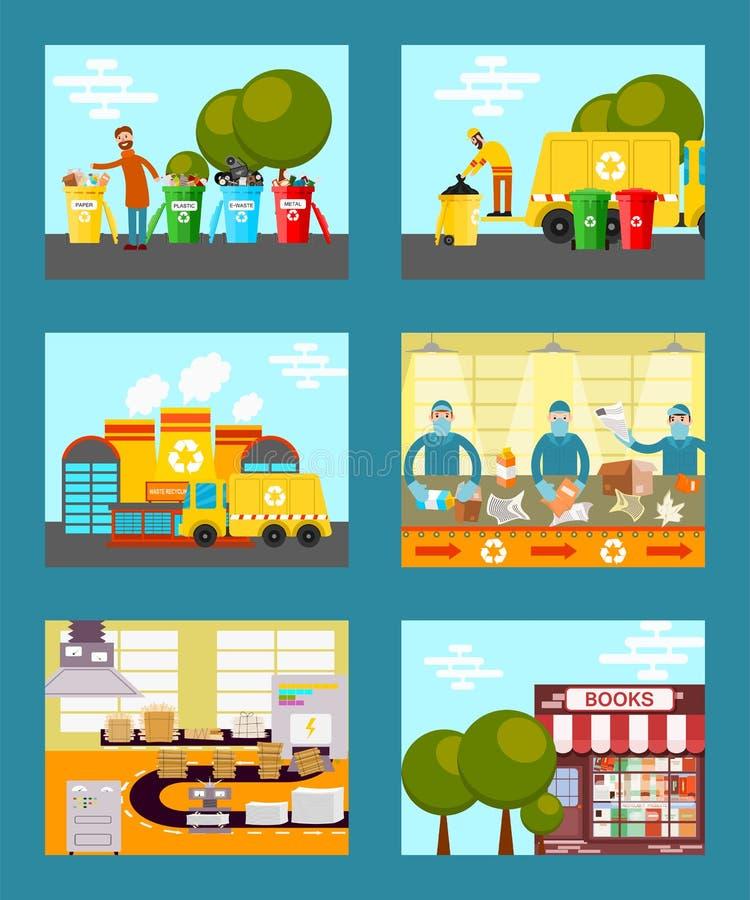 Ανακυκλώστε τα απορρίματα, εκτός από τη διανυσματική απεικόνιση καρτών έννοιας οικολογίας Άνθρωποι που ρίχνουν τα απορρίμματα στα διανυσματική απεικόνιση