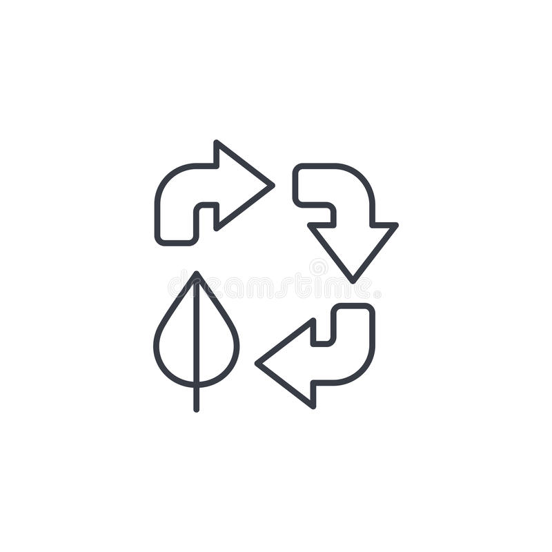 Ανακυκλώστε τα βέλη και το φύλλο Λεπτό εικονίδιο γραμμών προστασίας του περιβάλλοντος Γραμμικό διανυσματικό σύμβολο απεικόνιση αποθεμάτων
