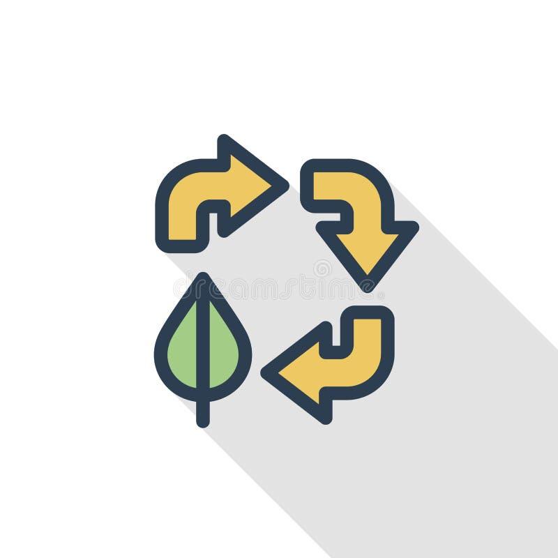 Ανακυκλώστε τα βέλη και το φύλλο Του περιβάλλοντος προστασίας λεπτό εικονίδιο χρώματος γραμμών επίπεδο Γραμμικό διανυσματικό σύμβ απεικόνιση αποθεμάτων