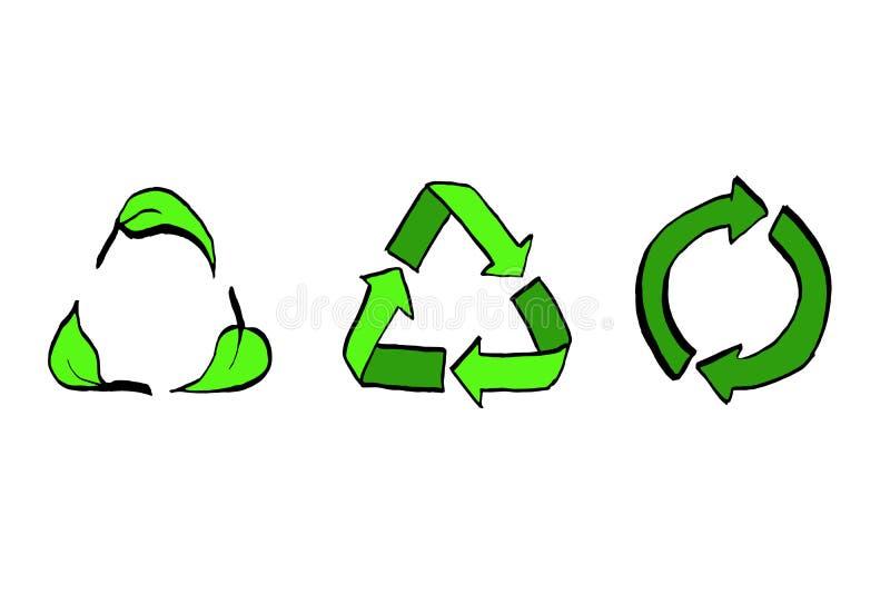 Ανακυκλώστε τα διανυσματικά βέλη συνόλου, κύκλων και τριγώνων εικονιδίων eco με συμένος φύλλων υπό εξέταση το ύφος ελεύθερη απεικόνιση δικαιώματος