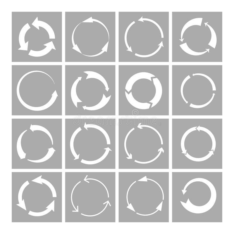 Ανακυκλώστε τα εικονίδια σημαδιών καθορισμένα ελεύθερη απεικόνιση δικαιώματος