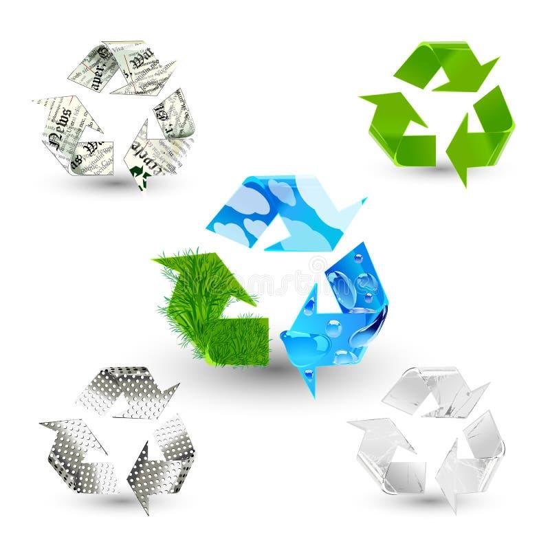 ανακυκλώστε τα σύμβολα διανυσματική απεικόνιση