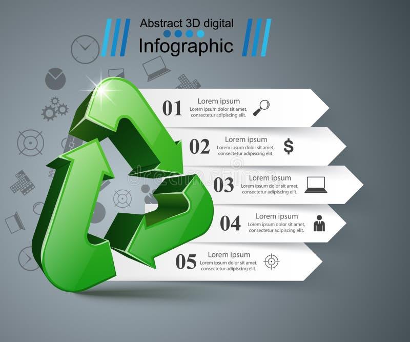 Ανακυκλώστε την επιχείρηση infographic Τέσσερα στοιχεία απεικόνιση αποθεμάτων