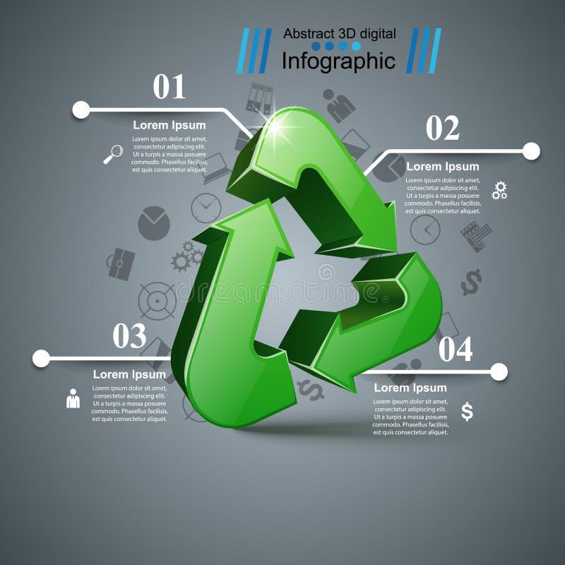 Ανακυκλώστε την επιχείρηση infographic Τέσσερα στοιχεία ελεύθερη απεικόνιση δικαιώματος