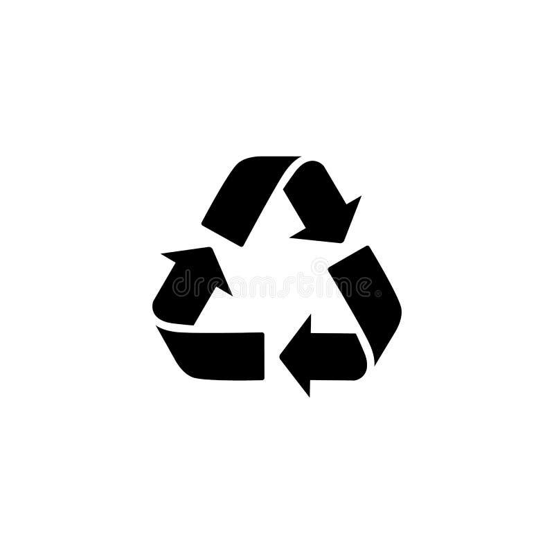 Ανακυκλώστε το διανυσματικό εικονίδιο σημαδιών Σύμβολο απορριμμάτων E Σημάδι βελών που απομονώνεται στο άσπρο, επίπεδο σχέδιο για ελεύθερη απεικόνιση δικαιώματος