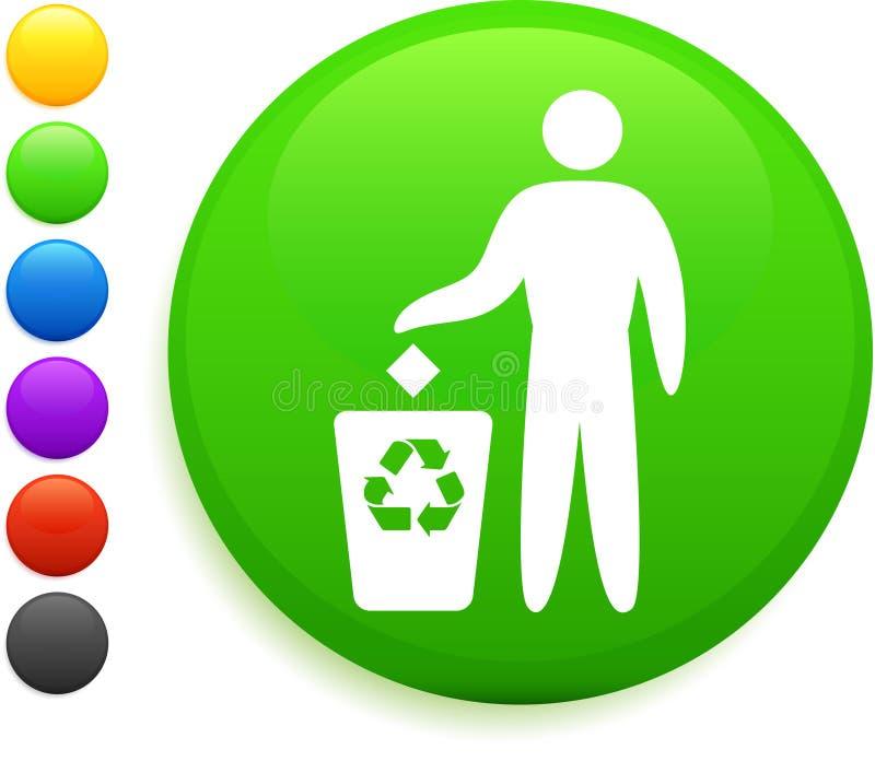 Ανακυκλώστε το εικονίδιο στο στρογγυλό κουμπί Διαδικτύου διανυσματική απεικόνιση