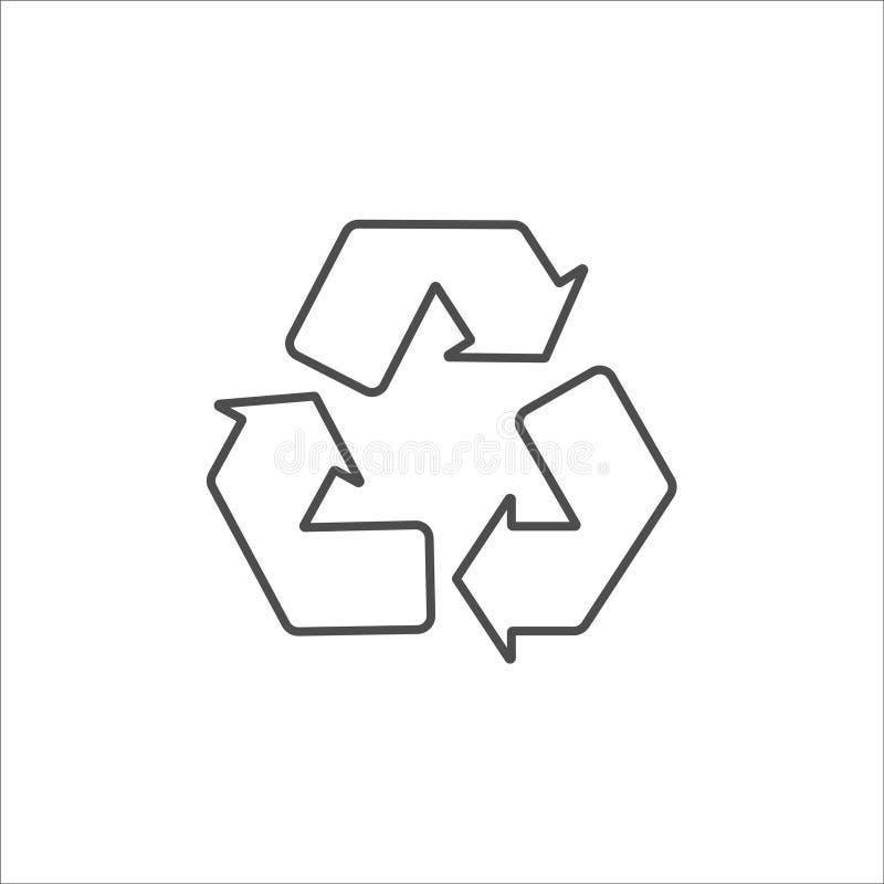 Ανακυκλώστε το μαύρο εικονίδιο στο άσπρο διάνυσμα υποβάθρου ελεύθερη απεικόνιση δικαιώματος