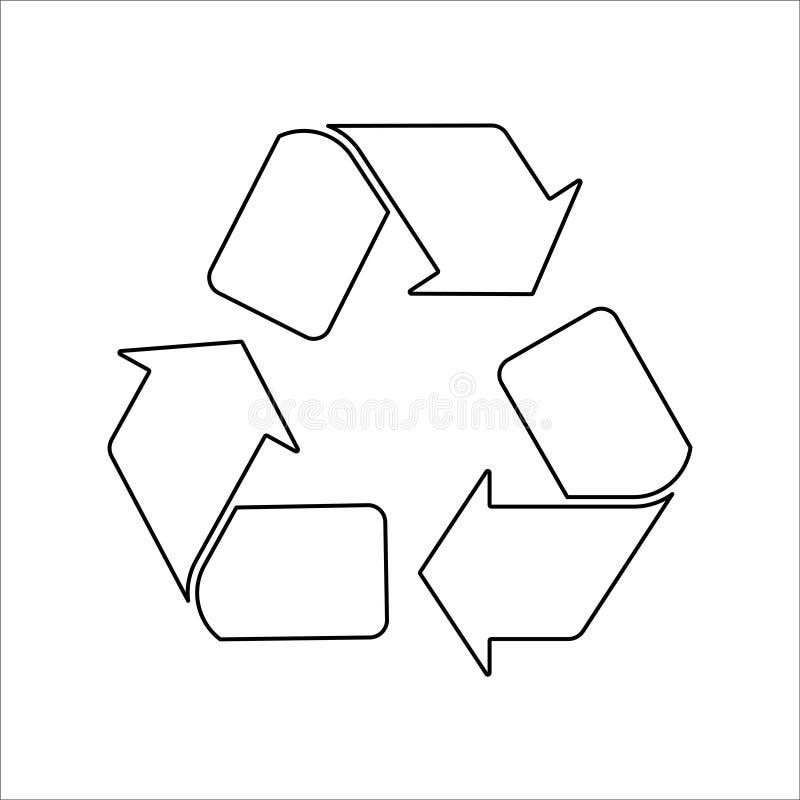 Ανακυκλώστε το μαύρο εικονίδιο στο άσπρο διάνυσμα υποβάθρου διανυσματική απεικόνιση