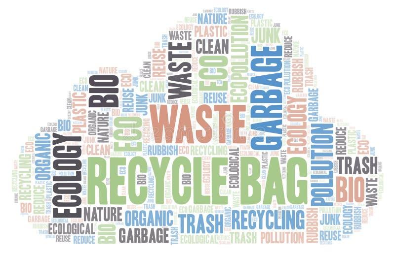 Ανακυκλώστε το σύννεφο λέξης τσαντών απεικόνιση αποθεμάτων