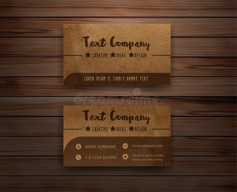 Ανακυκλωμένες διάνυσμα επαγγελματικές κάρτες εγγράφου σε ξύλινο διανυσματική απεικόνιση