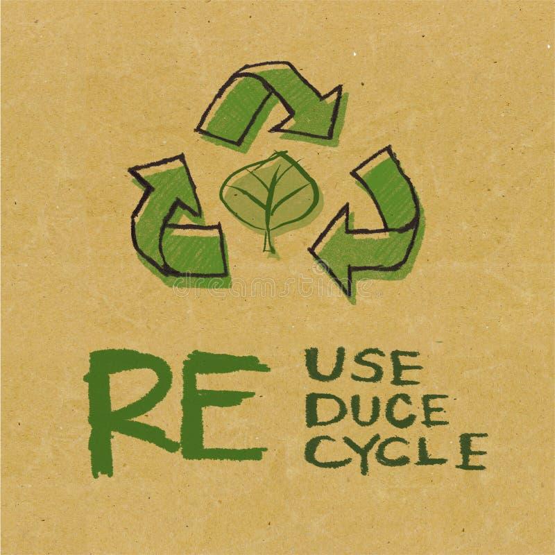 Ανακυκλωμένο έγγραφο με το σημάδι Eco διανυσματική απεικόνιση