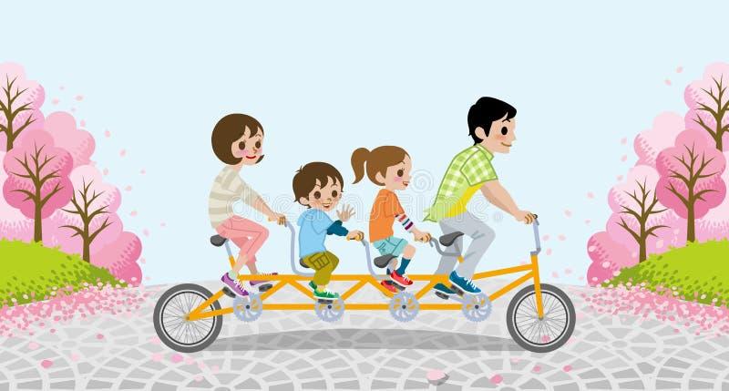 Ανακυκλώνοντας το οικογενειακό διαδοχικό ποδήλατο - μεταξύ των δέντρων κερασιών πλήρους άνθισης - EPS10 απεικόνιση αποθεμάτων