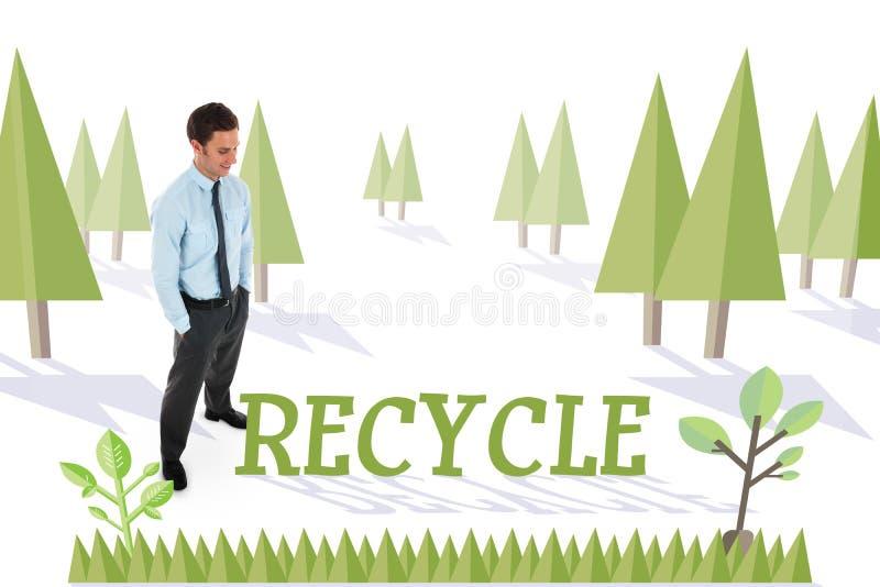 Ανακυκλώστε ενάντια στο δάσος με το γήινο δέντρο ελεύθερη απεικόνιση δικαιώματος