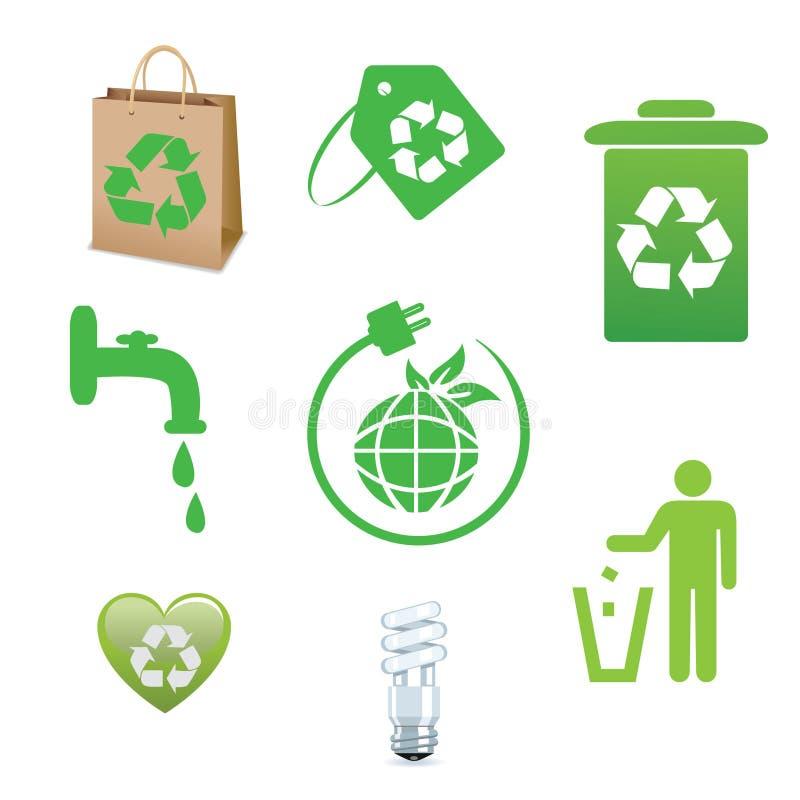 Ανακυκλώστε και οικολογίας συλλογή εικονιδίων απεικόνιση αποθεμάτων