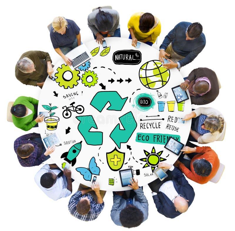 Ανακυκλώστε την επαναχρησιμοποίηση μειώνει τη βιο έννοια περιβάλλοντος Eco φιλική στοκ φωτογραφίες