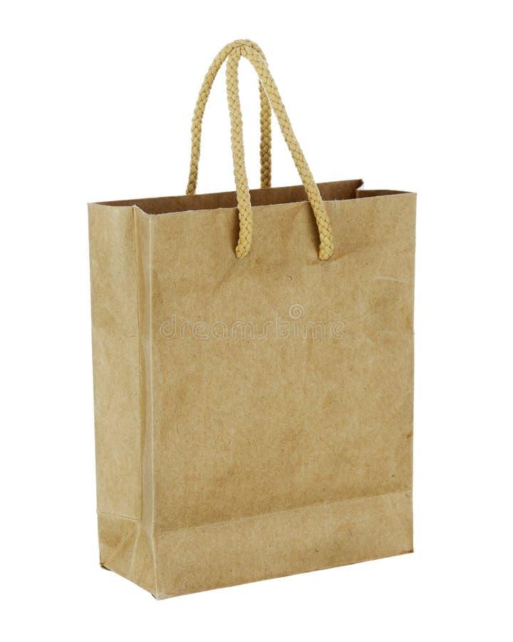 Ανακυκλώστε την τσάντα καφετιού εγγράφου που απομονώνεται στο άσπρο υπόβαθρο. στοκ εικόνες
