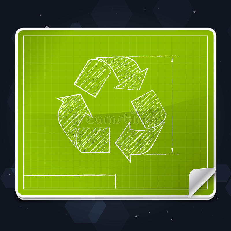 Ανακυκλώστε το εικονίδιο σχεδιαγραμμάτων συμβόλων ελεύθερη απεικόνιση δικαιώματος