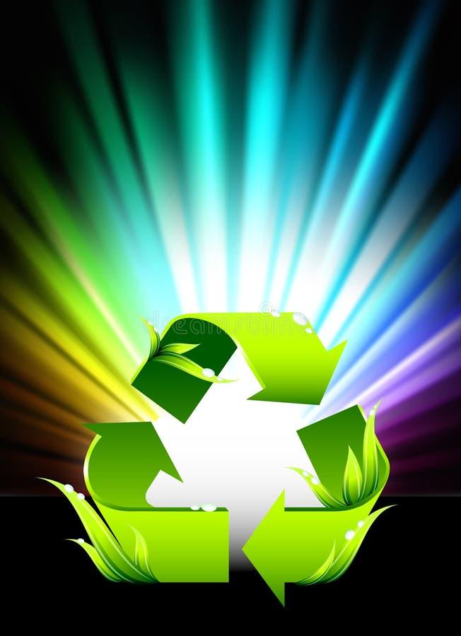 Ανακυκλώστε το σύμβολο στο αφηρημένο υπόβαθρο φάσματος απεικόνιση αποθεμάτων