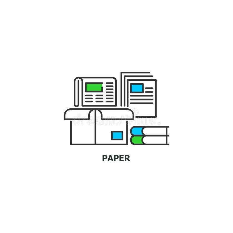 Ανακύκλωσης εικονίδιο έννοιας άχρηστων χαρτιών στο σχέδιο γραμμών, διανυσματική επίπεδη απεικόνιση που απομονώνεται στο άσπρο υπό διανυσματική απεικόνιση