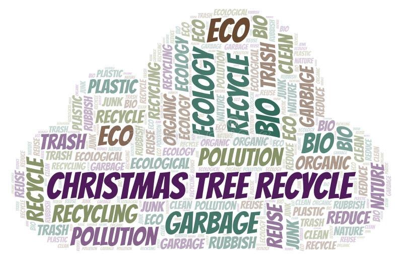 Ανακύκλωσης σύννεφο λέξης χριστουγεννιάτικων δέντρων διανυσματική απεικόνιση