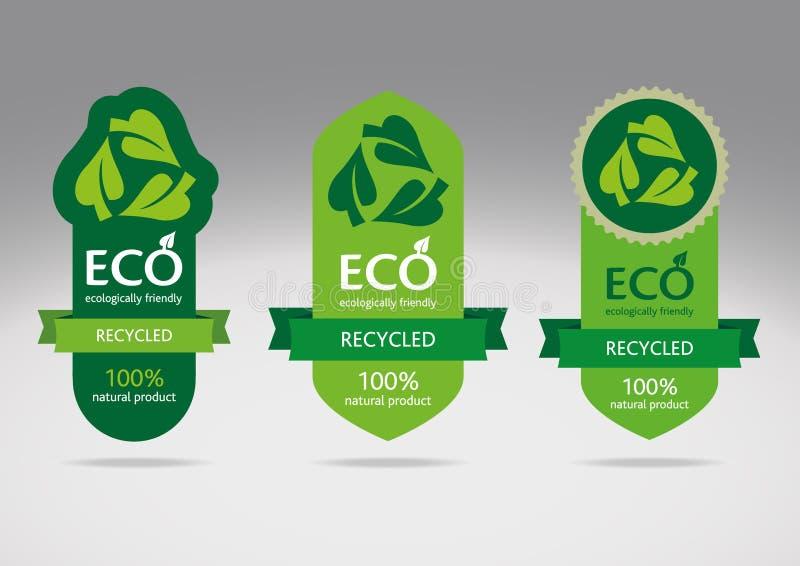 ανακύκλωσης σύνολο ετικετών eco διανυσματική απεικόνιση