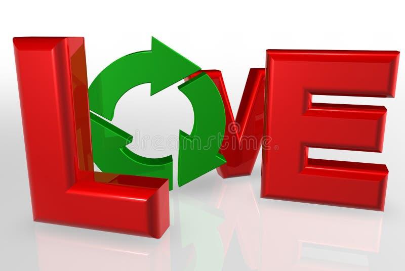 ανακύκλωση αγάπης απεικόνιση αποθεμάτων