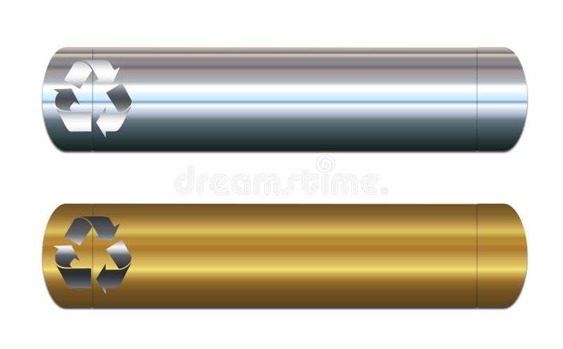 ανακύκλωση μετάλλων εμβλημάτων διανυσματική απεικόνιση