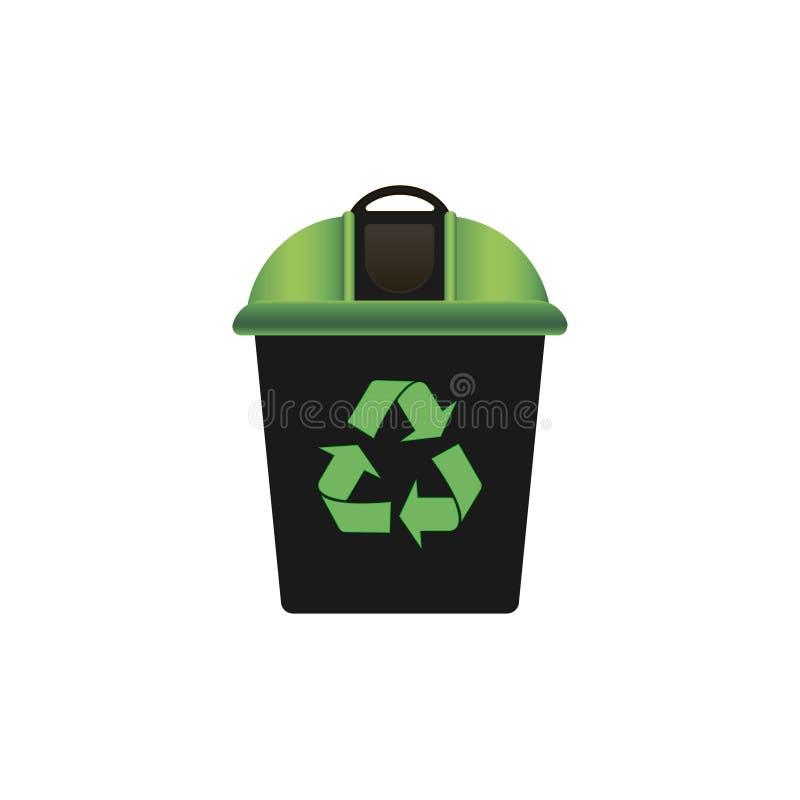 Ανακύκλωση του δοχείου απορριμάτων με το πράσινο καπάκι ανακυκλώνοντας σύμβολ&omicro επάνω από ποδηλάτων καναλιών eco ενεργειακών ελεύθερη απεικόνιση δικαιώματος
