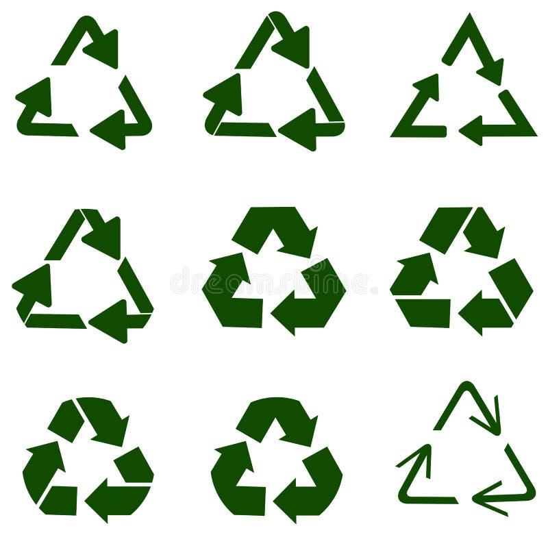 Ανακύκλωση του συμβόλου των οικολογικά καθαρών κεφαλαίων, σύνολο βελών διανυσματική απεικόνιση