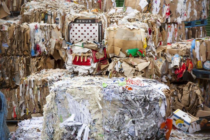 Ανακύκλωση συλλογής απορριμάτων Μια τεράστια συσσώρευση του εγγράφου και συσκευασία που αποσυντίθεται στοκ εικόνα