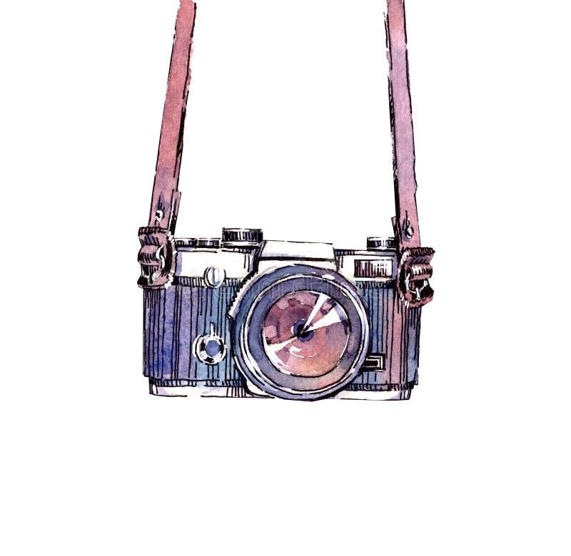 Αναλογική εκλεκτής ποιότητας κάμερα watercolor Hipster απεικόνιση αποθεμάτων