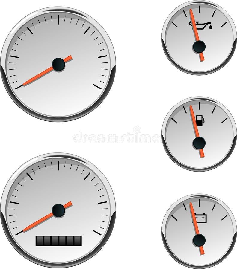 αναλογικοί αυτοκίνητοι μετρητές βαρκών απεικόνιση αποθεμάτων