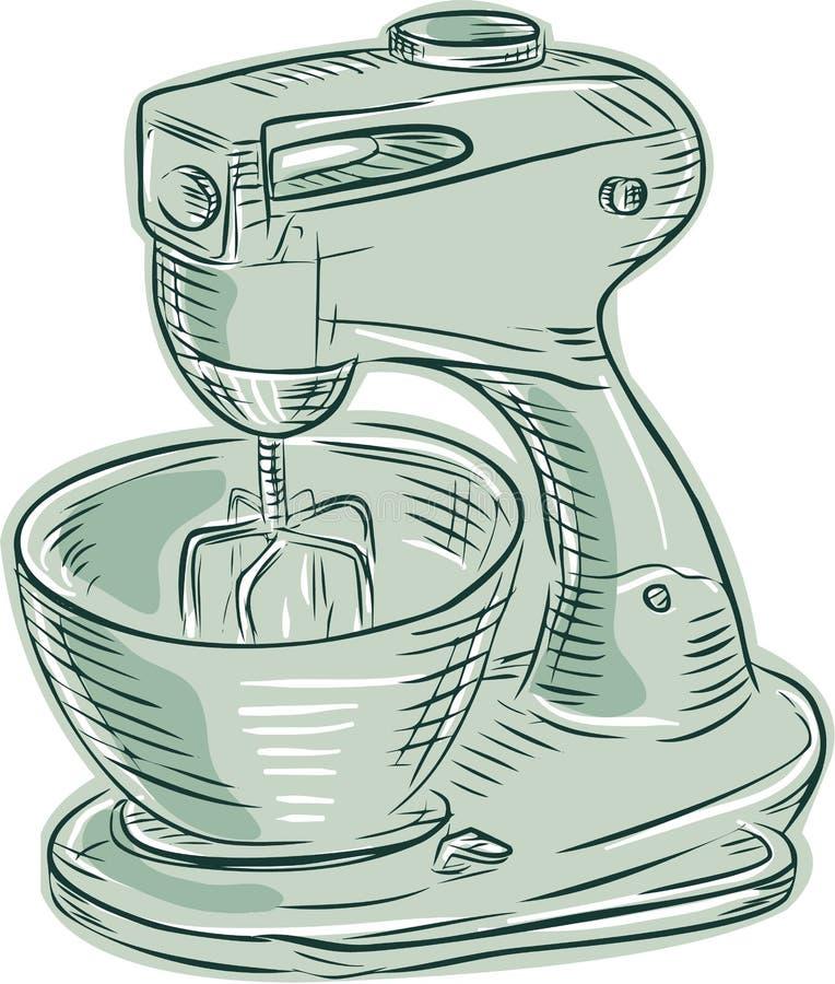 Αναμίκτης εκλεκτής ποιότητας χαρακτική κουζινών διανυσματική απεικόνιση