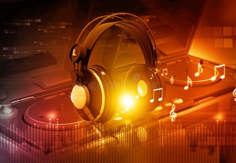 Αναμίκτης του DJ με τα ακουστικά διανυσματική απεικόνιση