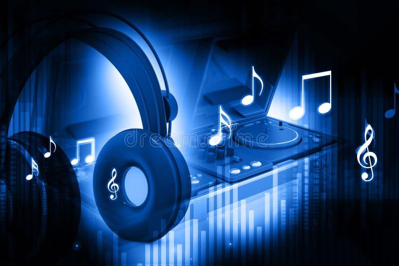 Αναμίκτης του DJ με τα ακουστικά απεικόνιση αποθεμάτων
