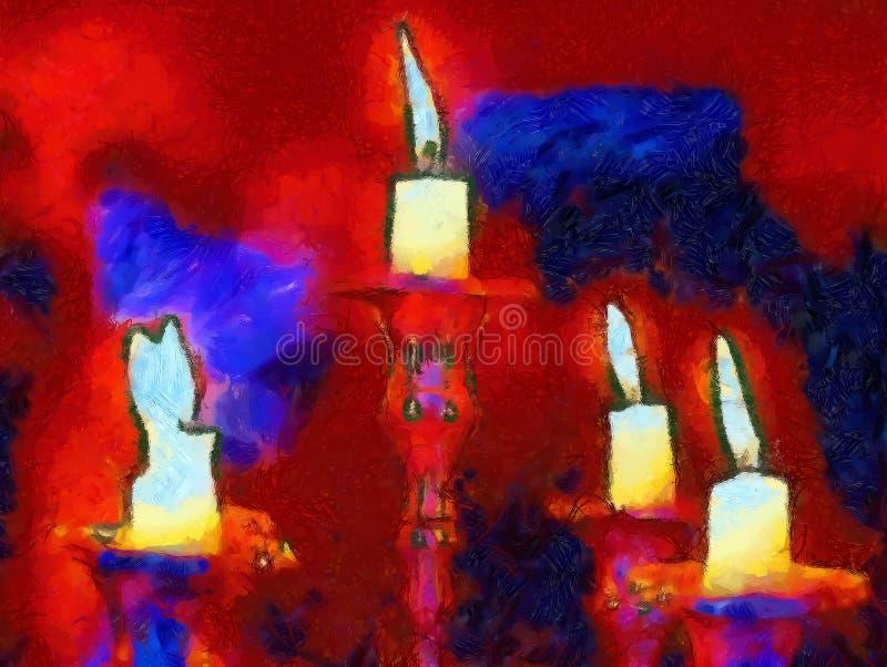 Αναμμένα κεριά στο κηροπήγιο, υπολογιστής γραφικός με τη δομημένη σύσταση ελεύθερη απεικόνιση δικαιώματος