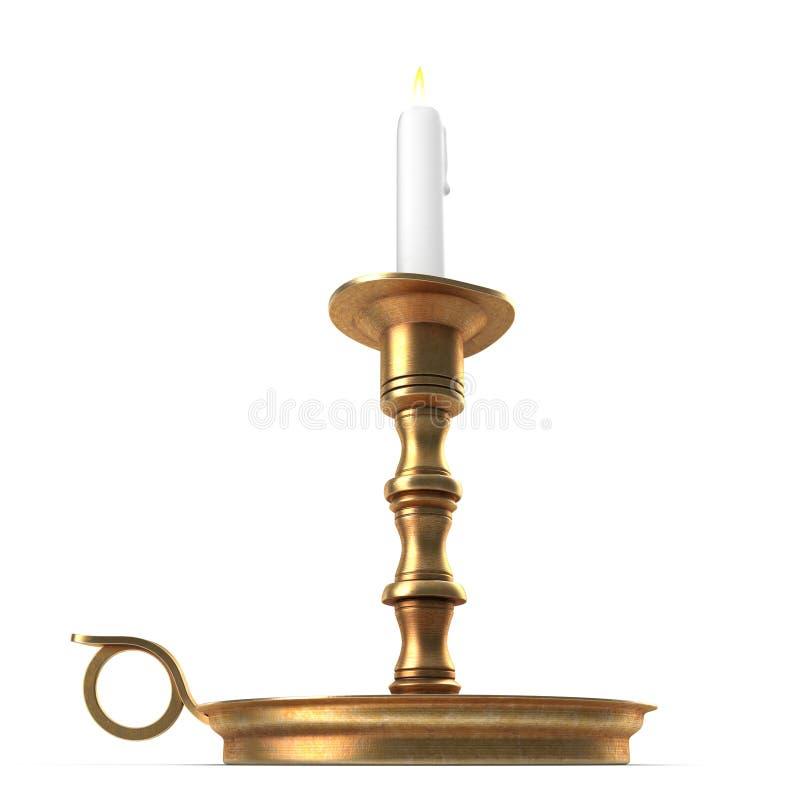 Αναμμένο κερί σε ένα παλαιό κηροπήγιο ορείχαλκου, με ένα λευκό τρισδιάστατη απεικόνιση ελεύθερη απεικόνιση δικαιώματος